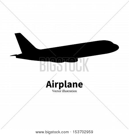 Vector illustration of black airplane silhouette. Isolated on white background. Logo icon plane. Aircraft side view profile. The concept of air travel.