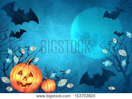 Happy Halloween design. Halloween spooky background with bats flying in the moonlight autumn trees and pumpkins. Scary Halloween background. Halloween banner party invitation card.