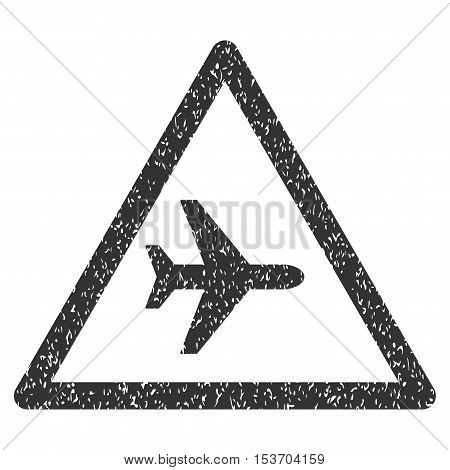 Airplane Warning rubber seal stamp watermark. Icon symbol inside rounded rectangular frame with grunge design and unclean texture. Unclean vector gray ink sign on a white background.