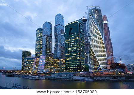 MOSCOW, RUSSIA - APRIL 14, 2015: Modern high-rise complex