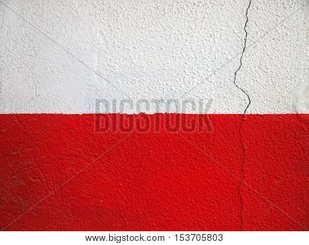 Detail of a wall painted in white and red