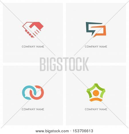 Team work and conversation vector logo. Business handshake, two hands make a deal, dialog and chat symbols, person and star shape - teamwork, agreement and success icons.
