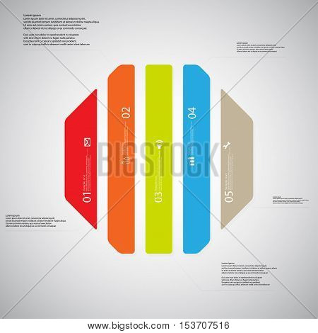 Octagon Illustration Template Consists Of Five Color Parts On Light Background