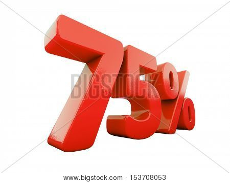 3d Render: Isolated 75 Percent Sign on White Background