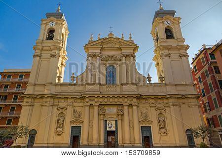 SANTA MARGHERITA LIGURE, ITALY - SEPTEMBER 2016 : Facade of Santa Margherita Church (Basilica of Santa Margherita of Antiochia) in Santa Margherita Ligure, Italy on September 22, 2016