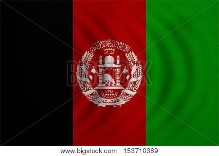 Afghan national official flag. Patriotic symbol banner element background. Correct colors. Flag of Afghanistan wavy with real detailed fabric texture accurate size illustration