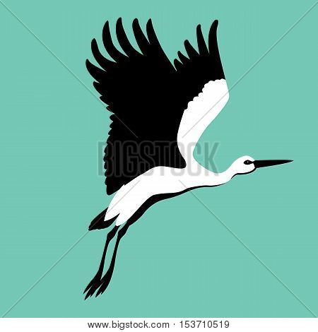 Stork vector illustration style Flat profile  side