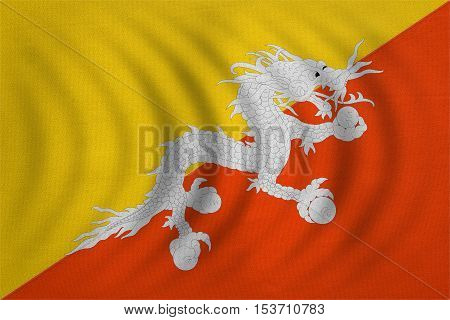 Bhutanese national official flag. Patriotic symbol banner element background. Correct colors. Flag of Bhutan wavy with real detailed fabric texture accurate size illustration