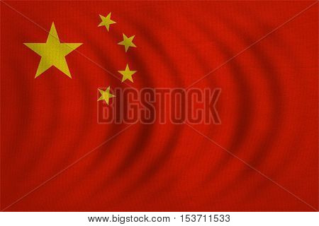 Chinese national flag. Symbol of the People's Republic of China. Patriotic PRC background design. Correct colors. Flag of China wavy with real detailed fabric texture accurate size illustration