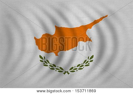 Cypriot national official flag. Patriotic symbol banner element background. Correct colors. Flag of Cyprus wavy with real detailed fabric texture accurate size illustration