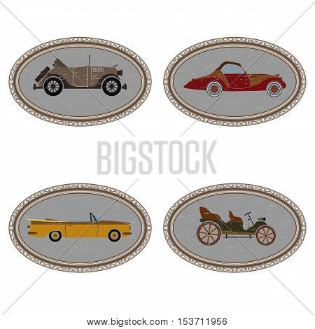 set of vintage cars in oval frames. isolate on white background