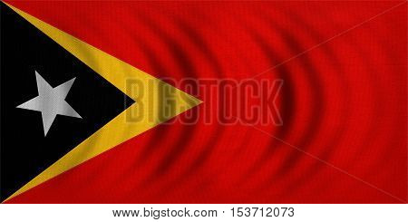 East Timorese national official flag. Patriotic symbol banner element background. Correct colors. Flag of East Timor wavy with real detailed fabric texture accurate size illustration