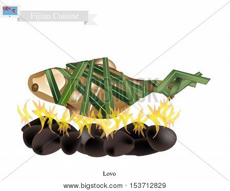 Fijian Cuisine Illustration of Lovo or Traditional Food Made From Meat Fish and Vegetables are Wrapped in Banana Leaves or Palm Leaves Cooked on Heated Stones. The Native Dish of Fiji.