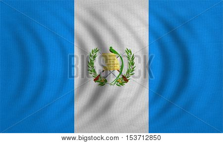 Guatemalan national official flag. Patriotic symbol banner element background. Correct colors. Flag of Guatemala wavy with real detailed fabric texture accurate size illustration