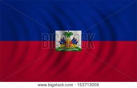 Haitian national official flag. Patriotic symbol banner element background. Correct colors. Flag of Haiti wavy with real detailed fabric texture accurate size illustration