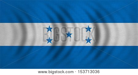 Honduran national official flag. Republic of Honduras patriotic symbol banner element background. Correct colors. Flag of Honduras wavy with real detailed fabric texture accurate size illustration