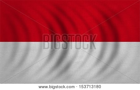 Indonesian national official flag. Patriotic symbol banner element background. Correct colors. Flag of Indonesia Monaco Hesse wavy with real detailed fabric texture accurate size illustration