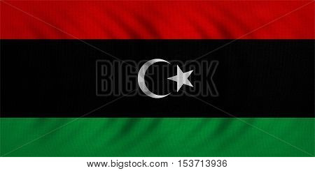 Libyan national official flag. African patriotic symbol banner element background. Correct colors. Flag of Libya wavy with real detailed fabric texture accurate size illustration