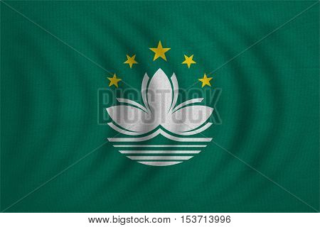 Macanese official flag. Patriotic chinese symbol banner element background. Macau is special region of PRC. Correct colors. Flag of Macau wavy detailed fabric texture accurate size illustration