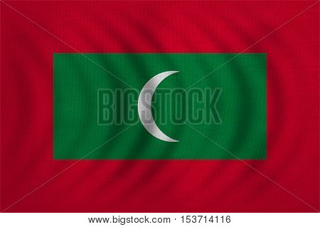 Maldivian national official flag. Patriotic symbol banner element background. Correct colors. Flag of Maldives wavy with real detailed fabric texture accurate size illustration