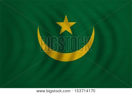 Mauritanian national official flag. African patriotic symbol banner element background. Correct colors. Flag of Mauritania wavy with real detailed fabric texture accurate size illustration