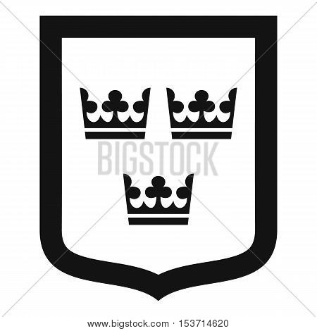 Coat of arms of Sweden icon. Simple illustration of coat of arms of Sweden vector icon for web