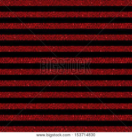 The parallel Horizontal lines on the black background. Background made of Red sequins. Mosaic sequins glitter sparkle stars. Parallel.