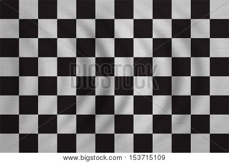 Checkered racing flag. Symbolic design of end of car race. Black and white background. Checkered flag wavy with real detailed fabric texture accurate size illustration