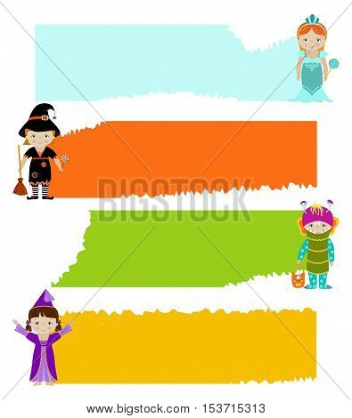 Set of horizontal banner with cute little kids in fancy dresses of fairy, monster, witch and mermaid, flat vector style.