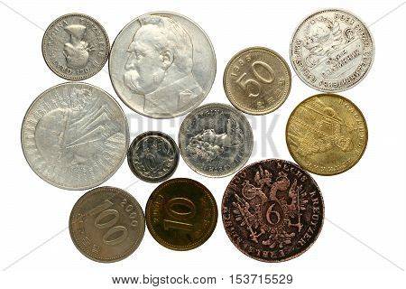 COINS OF DIFFERENT COUNTRIES: KOREA СANADA RUSSIA POLAND UKRAINE ON A WHITE BACKGROUND