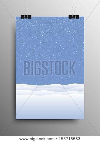 Vertical Poster Banner A4 Sized Vector Hanging With Paper Clips. White Snow Falling Blue Background. Falling Snow. Winter Holiday. Snowdrifts. Merry Christmas New Year.