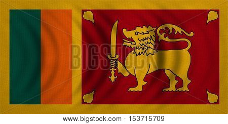 Sri Lankan national official flag. Patriotic symbol banner element background. Correct colors. Flag of Sri Lanka wavy with real detailed fabric texture accurate size illustration