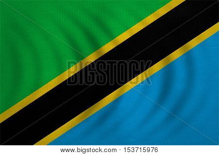 Tanzanian national official flag. African patriotic symbol banner element background. Correct colors. Flag of Tanzania wavy with real detailed fabric texture accurate size illustration