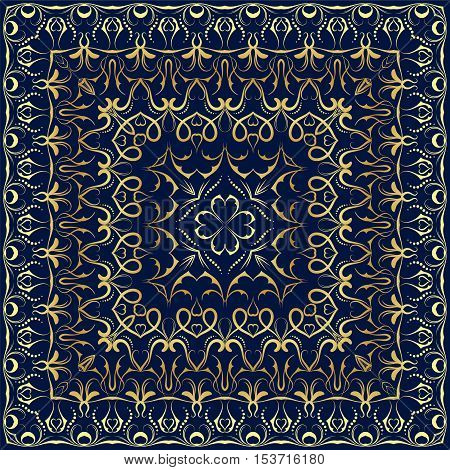 Ornament for scarf with gold pattern on bllue background. You can use for carpet, shawl, pillow, cushion. Vector illustration.