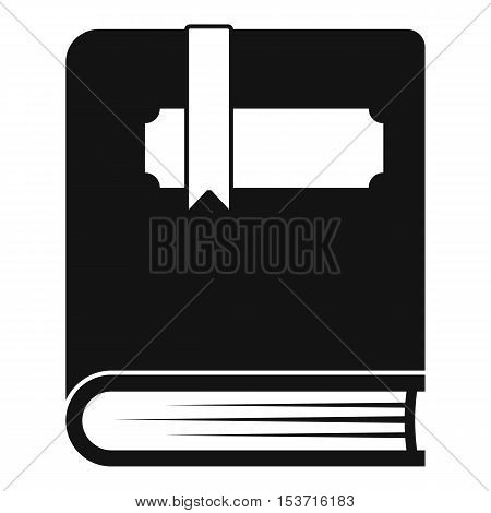 Thick book with bookmark icon. Simple illustration of thick book with bookmark vector icon for web