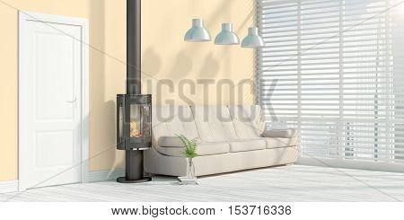 Beautiful modern interior with fireplace. 3D rendering taupe colored wall