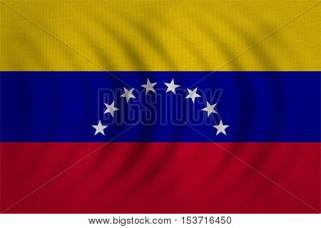 Venezuelan national official flag. Bolivarian Republic of Venezuela patriotic symbol banner element background. Correct color. Flag of Venezuela wavy real fabric texture accurate size illustration