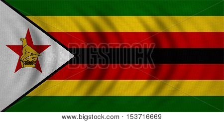 Zimbabwean national official flag. African patriotic symbol banner element background. Correct colors. Flag of Zimbabwe wavy with real detailed fabric texture accurate size illustration