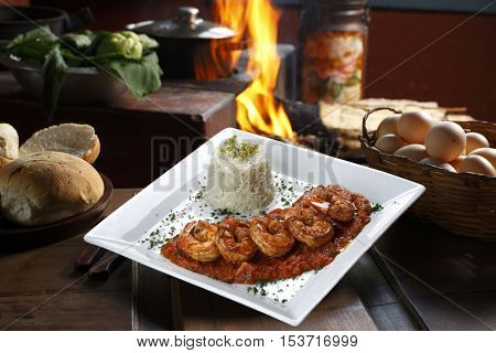Haute cuisine, large shrimp with sauce