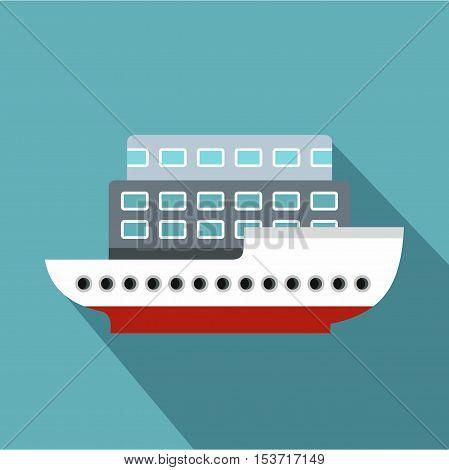 Large passenger ship icon. Flat illustration of large passenger ship vector icon for web