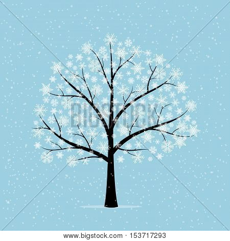 Tree in snow. Winter landscape on a blue background. Vector illustration.