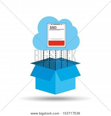 cloud ssd disk connection design graphic vector illustration