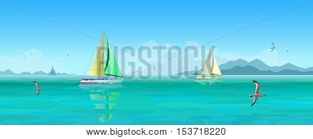 Seascape. Sailing boats and seagulls flying over blue ocean. Mountains and clouds in the background.