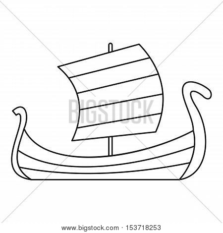 Medieval boat icon. Outline illustration of medieval boat vector icon for web