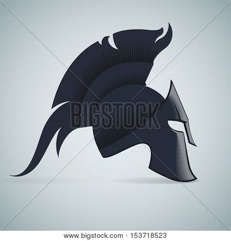 Spartan Helmet illustration Greek warrior - Gladiator legionnaire heroic soldier. vector