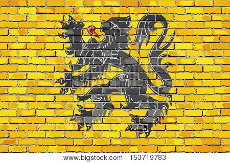 Flag of Flanders on a brick wall - Illustration,  Flemish Community Flag painted on brick wall, Flag of Flanders in brick style,  Abstract grunge mosaic vector