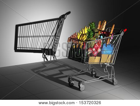 Shopping Cart Full Of Food Cast Shadow On The Wall As Empty Shopping Cart. 3D Illustration.
