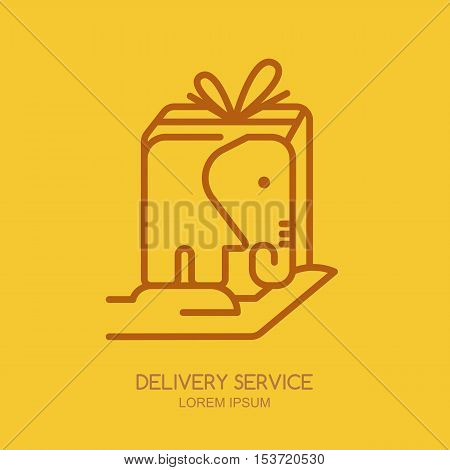 Vector Logo, Label Or Emblem Design Template With Linear Style Elephant Postal Box.
