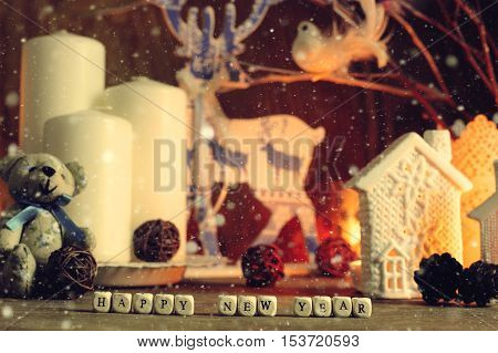 preparation for the joyous celebration of New Year decorations wishes
