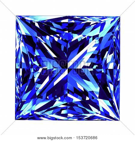Sapphire Princess Cut Over White Background. 3D Illustration. poster